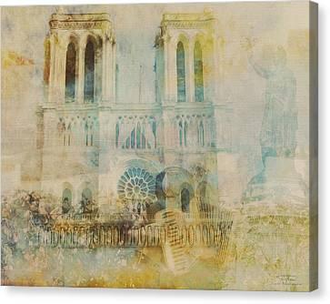 Mgl - City Collage - Paris 03 Canvas Print by Joost Hogervorst