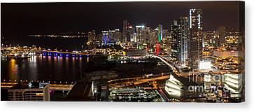 Miami After Dark II Skyline  Canvas Print by Rene Triay Photography