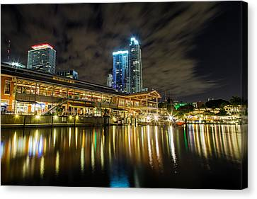 Miami Bayside At Night Canvas Print by Andres Leon