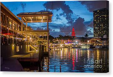 Miami Bayside Freedom Tower Canvas Print by Rene Triay Photography