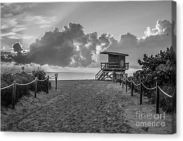Miami Beach Entrance Sunrise - Black And White Canvas Print by Ian Monk