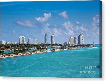 Miami Beach Skyline Canvas Print by Rene Triay Photography