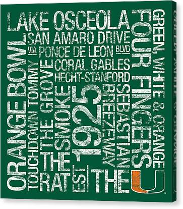 Miami College Colors Subway Art Canvas Print by Replay Photos