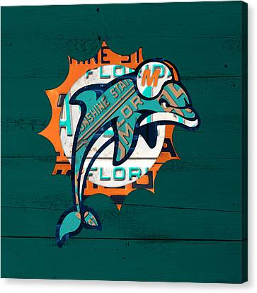 Miami Dolphins Football Team Retro Logo Florida License Plate Art Canvas Print by Design Turnpike