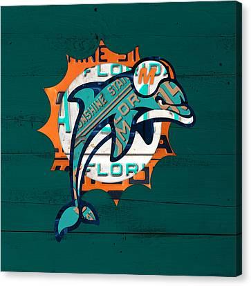 Miami Dolphins Football Team Retro Logo Florida License Plate Art Canvas Print by Design Turnpike