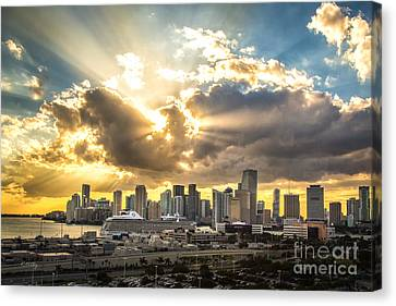 Miami Downtown Metropolis Canvas Print by Rene Triay Photography