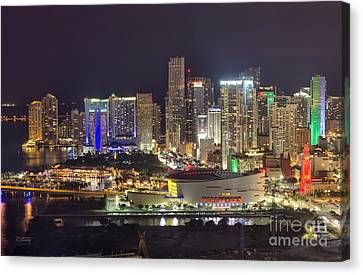 Miami Downtown Skyline American Airlines Arena Canvas Print by Rene Triay Photography