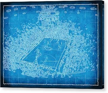 Miami Heat Arena Blueprint Canvas Print by Joe Myeress