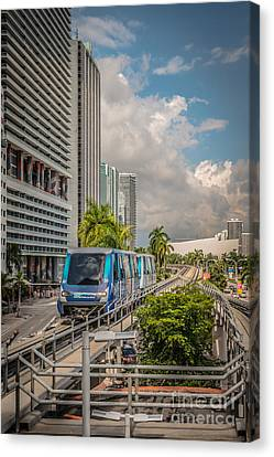 Miami Metro Mover Approaching Station - Hdr Style Canvas Print by Ian Monk