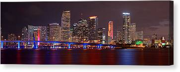 Miami Skyline At Night Panorama Color Canvas Print by Jon Holiday