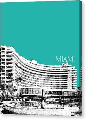 Miami Skyline Fontainebleau Hotel - Teal Canvas Print by DB Artist