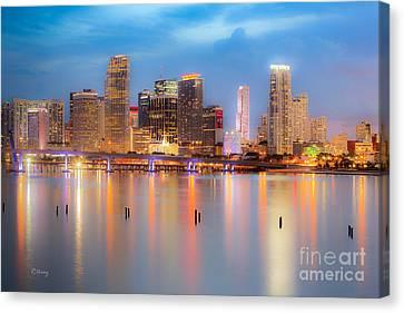 Miami Skyline On A Still Night- Soft Focus  Canvas Print by Rene Triay Photography