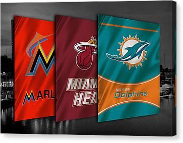 Miami Sports Teams Canvas Print by Joe Hamilton