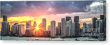 Miami Sunset Panoramic Canvas Print by Rene Triay Photography