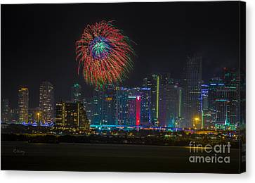 Miami The Colors Of New Years Celebration Canvas Print by Rene Triay Photography