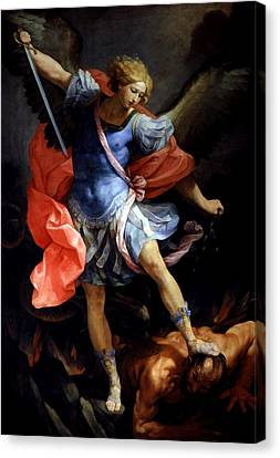 Michael Defeating Satan Canvas Print by Guido Reni