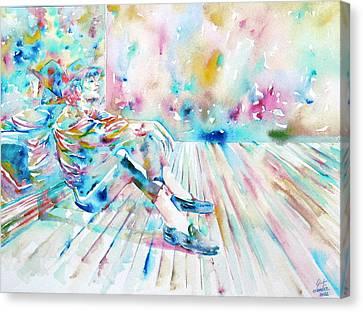 Michael Jackson - Watercolor Portrait.8 Canvas Print by Fabrizio Cassetta