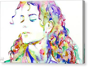 Michael Jackson - Watercolor Portrait.6 Canvas Print by Fabrizio Cassetta