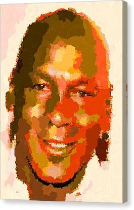 Michael Jordan - Abstract Canvas Print by Samuel Majcen