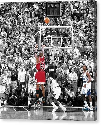 Michael Jordan Buzzer Beater Canvas Print by Brian Reaves