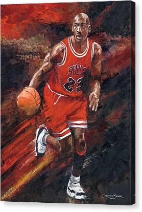 Michael Jordan Chicago Bulls Basketball Legend Canvas Print by Christiaan Bekker