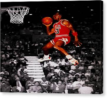 Michael Jordan Suspended In Mid Air Canvas Print by Brian Reaves