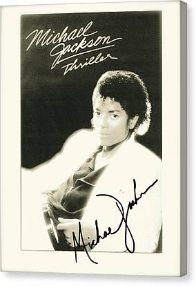 Micheal Jackson Signed Thriller Poster Canvas Print by Desiderata Gallery