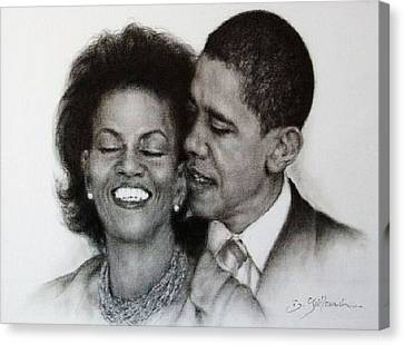Michelle Et Barack Obama Canvas Print by Guillaume Bruno