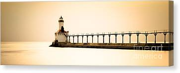 Michigan City Lighthouse At Sunset Panorama Picture Canvas Print by Paul Velgos