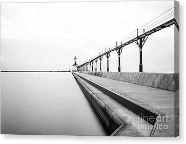 Michigan City Lighthouse Black And White Photo Canvas Print by Paul Velgos
