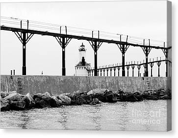 Michigan City Lighthouse Black And White Picture Canvas Print by Paul Velgos