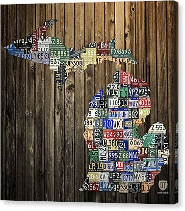 Michigan Counties State License Plate Map Canvas Print by Design Turnpike