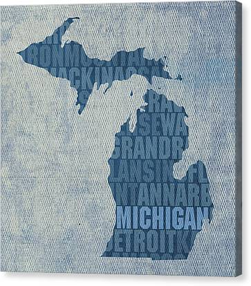 Michigan Great Lake State Word Art On Canvas Canvas Print by Design Turnpike
