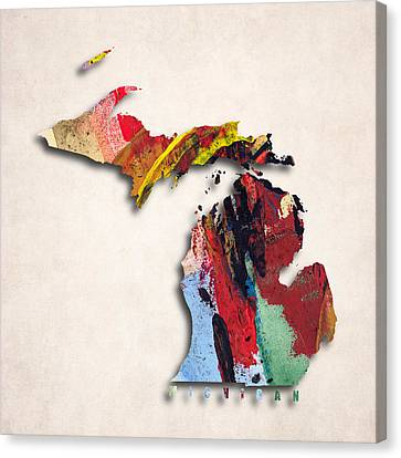 Michigan Map Art - Painted Map Of Michigan Canvas Print by World Art Prints And Designs