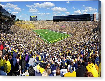 Michigan Stadium - Wolverines Canvas Print by Georgia Fowler
