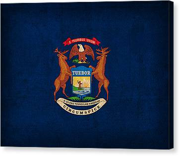 Michigan State Flag Art On Worn Canvas Canvas Print by Design Turnpike