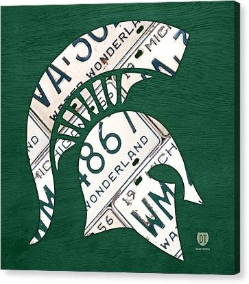 Michigan State Spartans Sports Retro Logo License Plate Fan Art Canvas Print by Design Turnpike