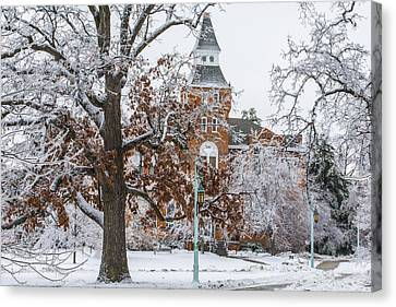 Michigan State University During Ice Storm  Canvas Print by John McGraw