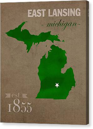 Michigan State University Spartans East Lansing College Town State Map Poster Series No 004 Canvas Print by Design Turnpike