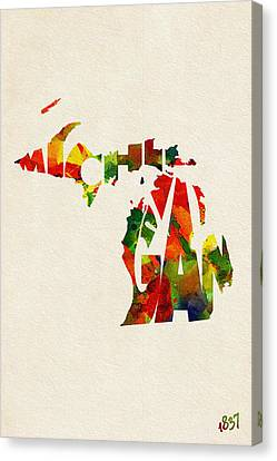 Michigan Typographic Watercolor Map Canvas Print by Ayse Deniz