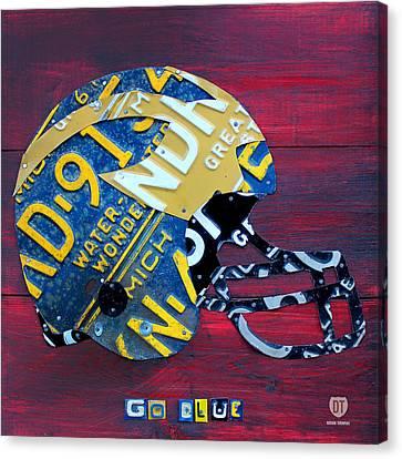 Michigan Wolverines College Football Helmet Vintage License Plate Art Canvas Print by Design Turnpike