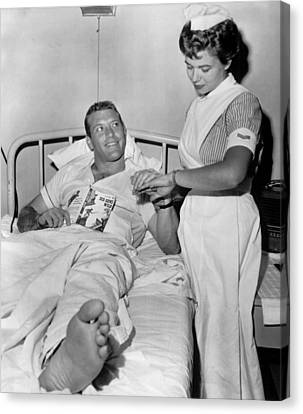 Mickey Mantle In Hospital With Nurse Canvas Print by Retro Images Archive