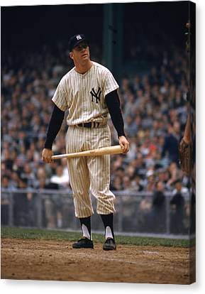 Mickey Mantle In Yankee Stadium Canvas Print by Retro Images Archive