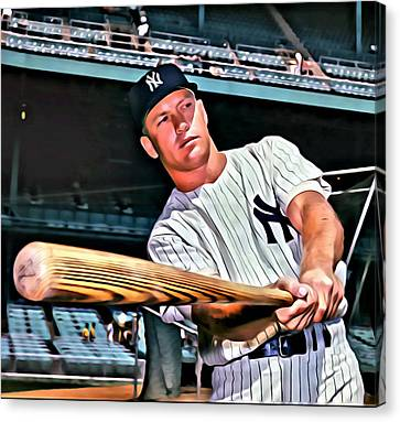 Mickey Mantle Painting Canvas Print by Florian Rodarte