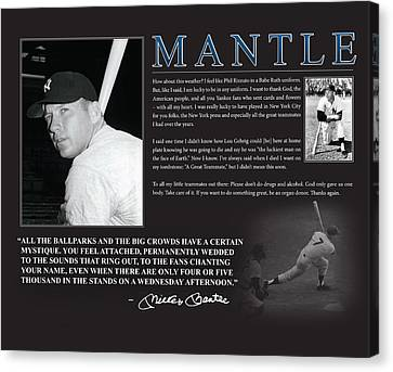 Mickey Mantle Canvas Print by Retro Images Archive