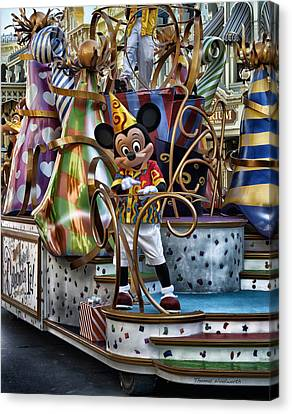 Mickey Mouse On His Celebrate It Float Canvas Print by Thomas Woolworth