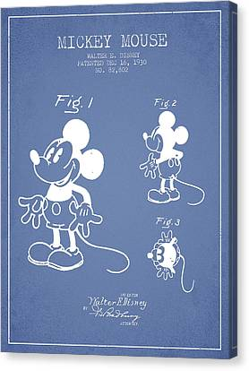 Mickey Mouse Patent Drawing From 1930 - Light Blue Canvas Print by Aged Pixel