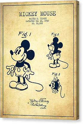 Cartoon Canvas Print featuring the drawing Mickey Mouse Patent Drawing From 1930 - Vintage by Aged Pixel