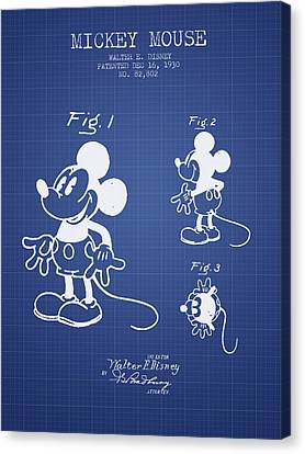 Mickey Mouse Patent From 1930- Blueprint Canvas Print by Aged Pixel