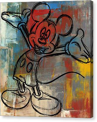 Mickey Mouse Sketchy Hello Canvas Print by Paulette B Wright